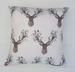 Aqua Deer Head Cushion Cover