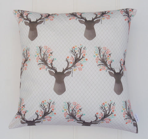 Pink Deer Head Cushion Cover