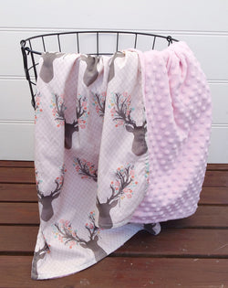 Minky Baby Blanket with Pink Deer Heads