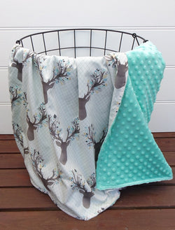 Minky Baby Blanket with Aqua Deer Heads