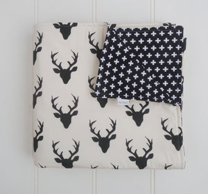 Black Deer Head & Crosses Reversible Cot Quilt