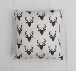Black Deer Head Cushion Cover