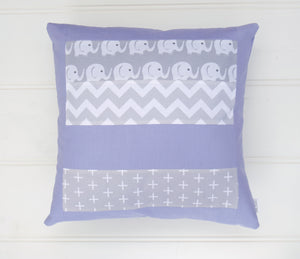 Purple & Grey Elephant Patchwork Cushion Cover