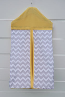 Nappy Stacker - Yellow with Grey Chevron