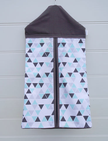 Nappy Stacker - Aqua Geometric & Grey