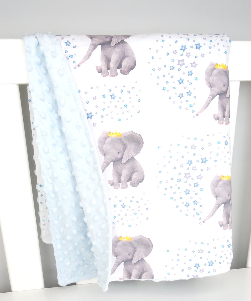 Baby Blue- Blue Crown Elephant Minky Baby Blanket