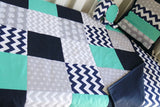Navy Blue & Teal Patchwork Quilt