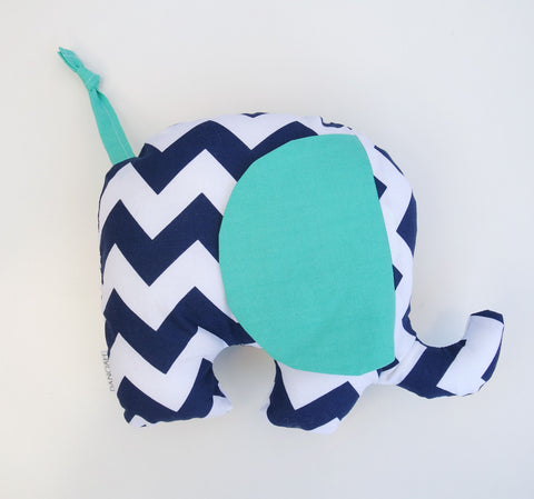 Plush Elephant Toy in Navy Blue & Teal