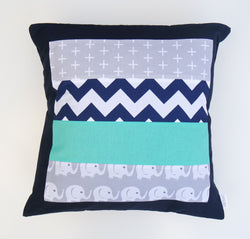 Navy Blue & Teal Elephant Cushion Cover