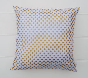 White & Gold Dot Cushion Cover