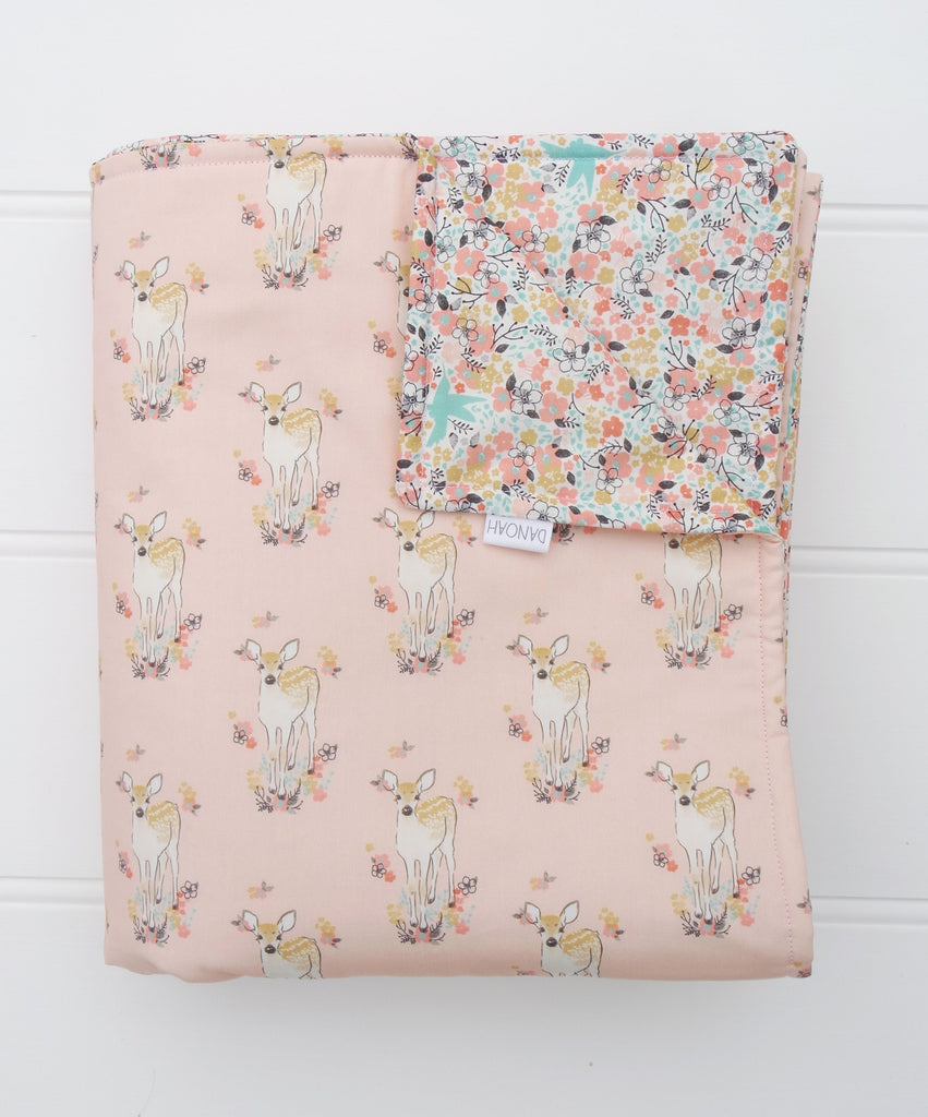 3 Piece - Pink Deer and Floral Quilt & Cushion Covers