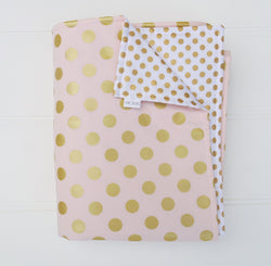 Pink White and Gold Dot Reversible Cot Quilt