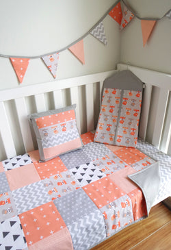 Peach & Grey Foxes Patchwork Quilt