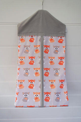 Nappy Stacker - Peach & Grey Foxes
