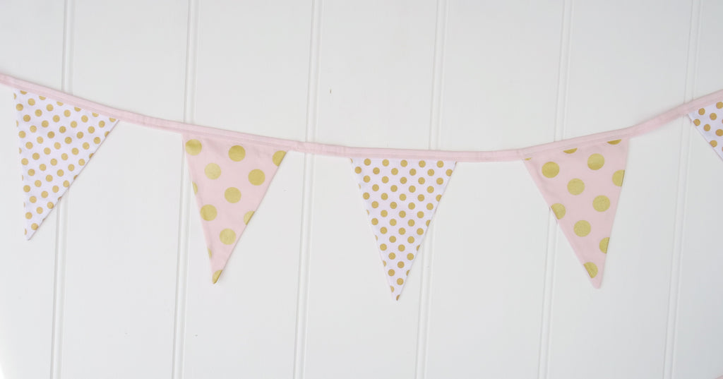 Pink, White & Gold Bunting Flags