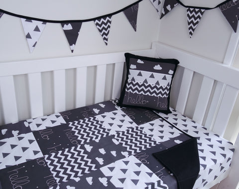 Black & White Hello Clouds Patchwork Quilt