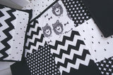 Black & White Bowtie Bear Patchwork Quilt