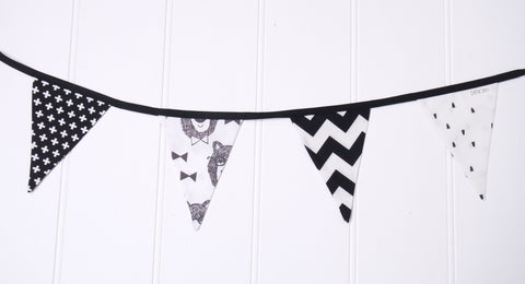 Black & White Bowtie Bear Bunting Flags