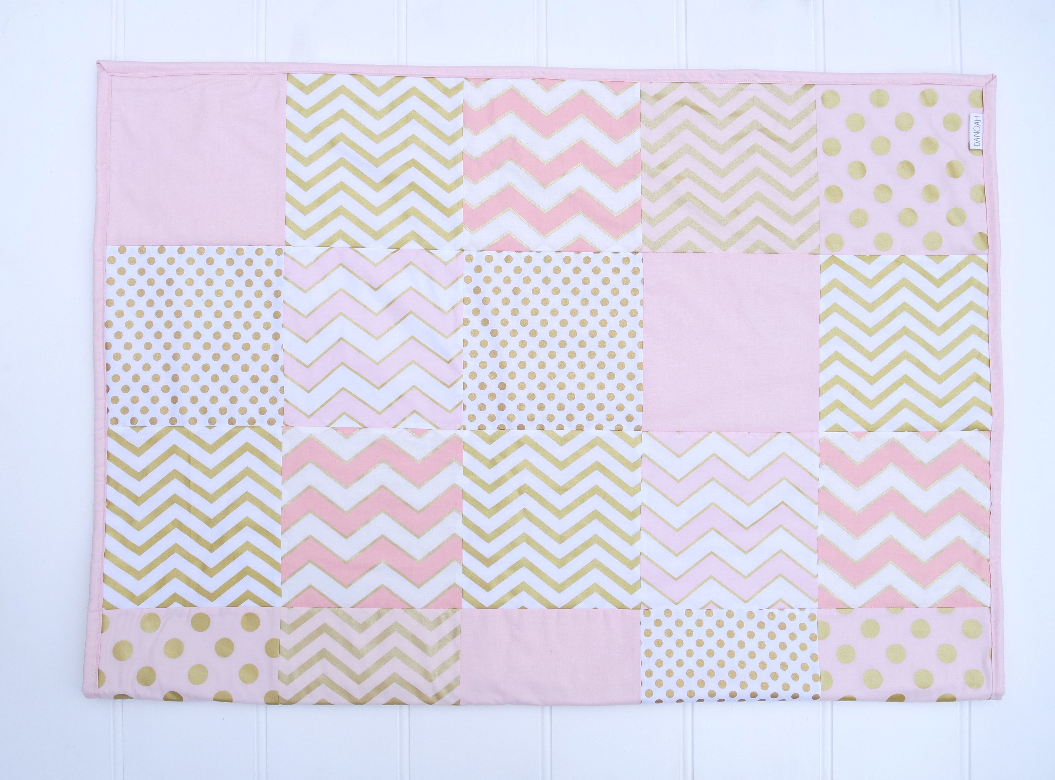 Pink & Gold Glam Patchwork Quilt