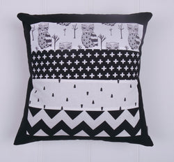 Black & White Owls Patchwork Cushion Cover