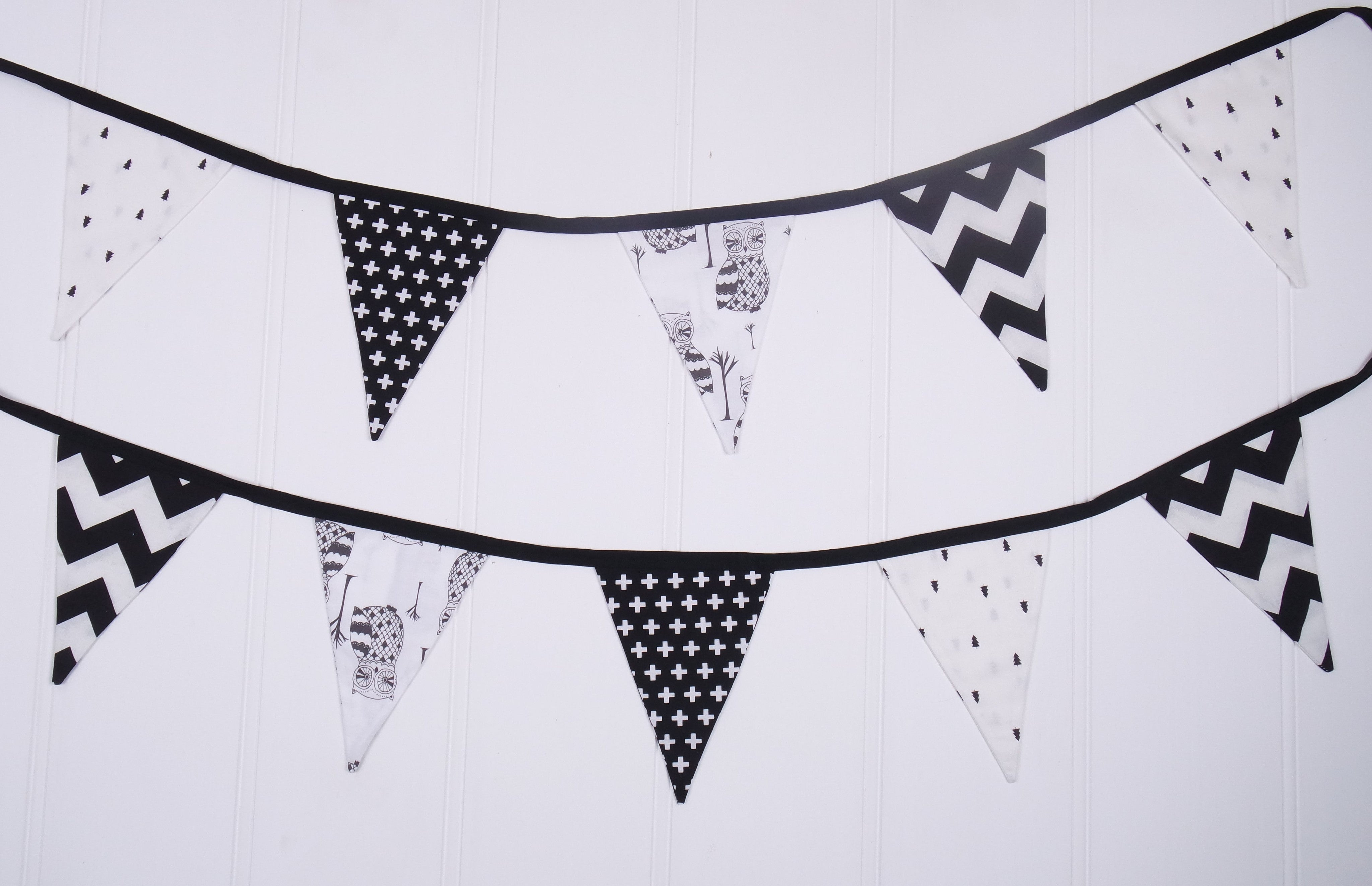 Black & White Owl Bunting Flags
