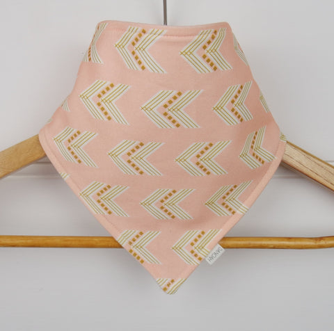 Organic Bandana Bib in Pink & Gold Arrows