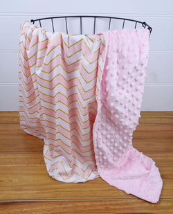 Minky Baby Blanket with Pink & Gold Chevron