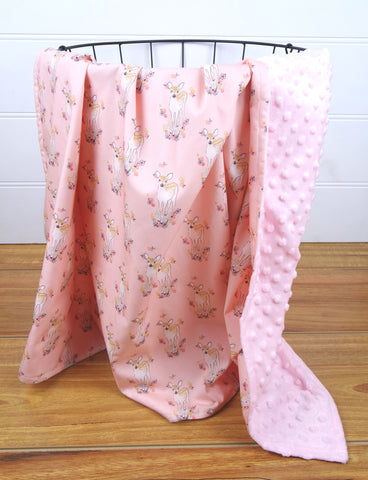 Minky Baby Blanket with Pink Baby Deer