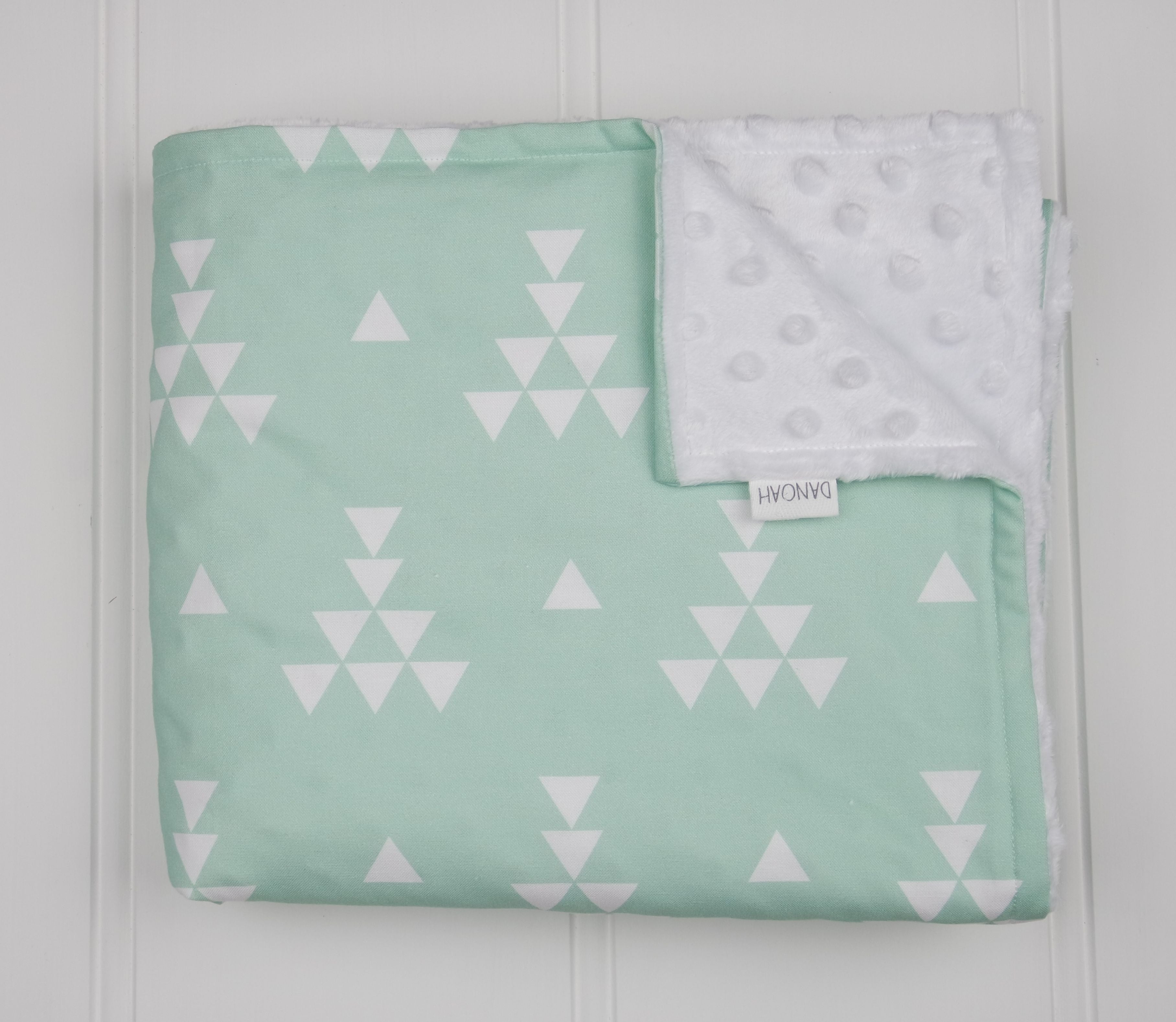 Minky Baby Blanket in Mint Geometric