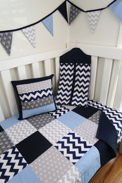 Blue & Grey Patchwork Quilt
