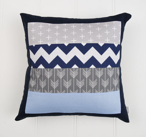 Blue & Grey Patchwork Cushion Cover