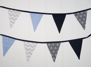 Blue & Grey Bunting Flags