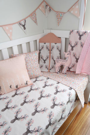 Deer Head & Pastel Flowers Reversible Cot Quilt