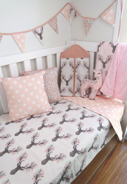 Deer Head & Pink Polka Dot Reversible Cot Quilt