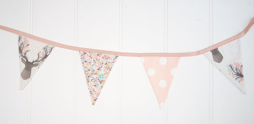 Pink Deer Head Bunting Flags