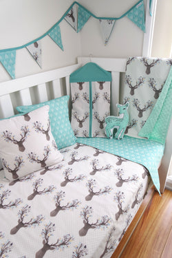 Deer Head & Aqua Arrow Reversible Cot Quilt