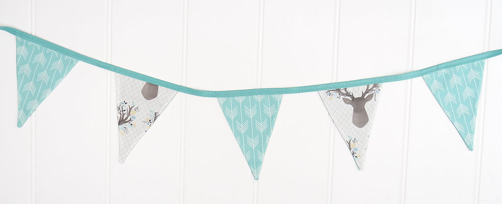 Aqua Deer & Arrows Bunting Flags