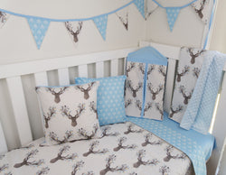 Deer Head & Blue Arrow Reversible Cot Quilt