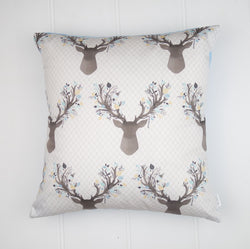 Blue Deer Head Cushion Cover