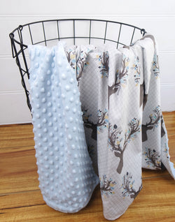 Minky Baby Blanket with Blue Deer Heads