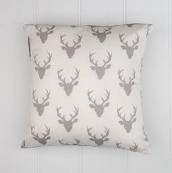 Grey Deer Head Cushion Cover