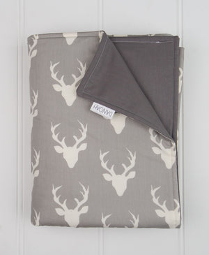 Grey Deer Head Reversible Cot Quilt