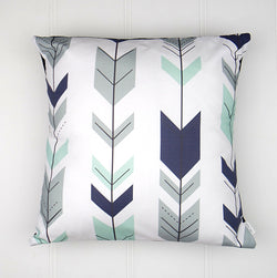 Navy & Mint Arrow Cushion Cover