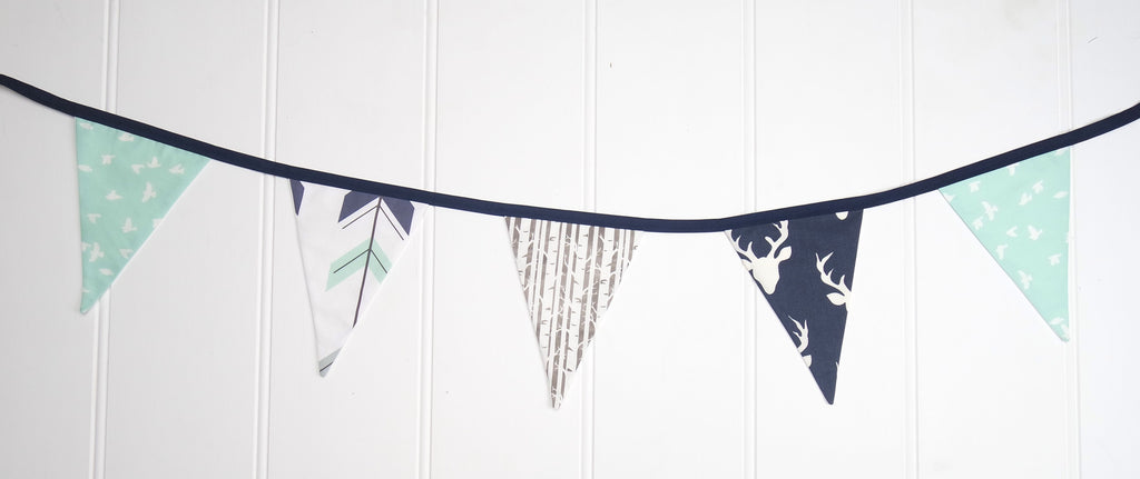 Navy & Mint Woodland Bunting Flags