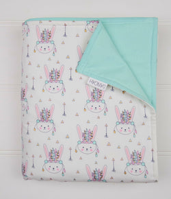 Pastel Indian Bunny Cot Quilt