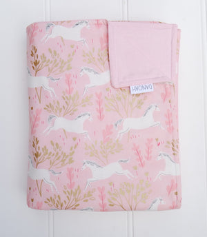 SALE - Pink & Gold Unicorn Cot Quilt