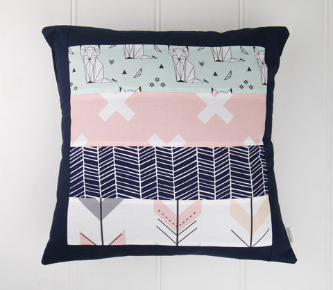 Mint Foxes Cushion Cover