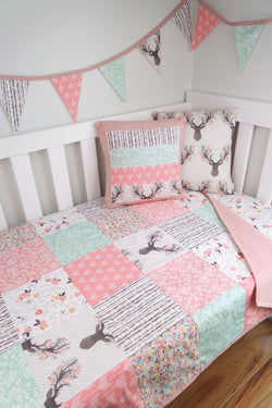 Pink & Mint Deer Patchwork Quilt