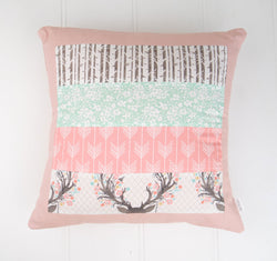 Pink & Mint Patchwork Cushion Cover
