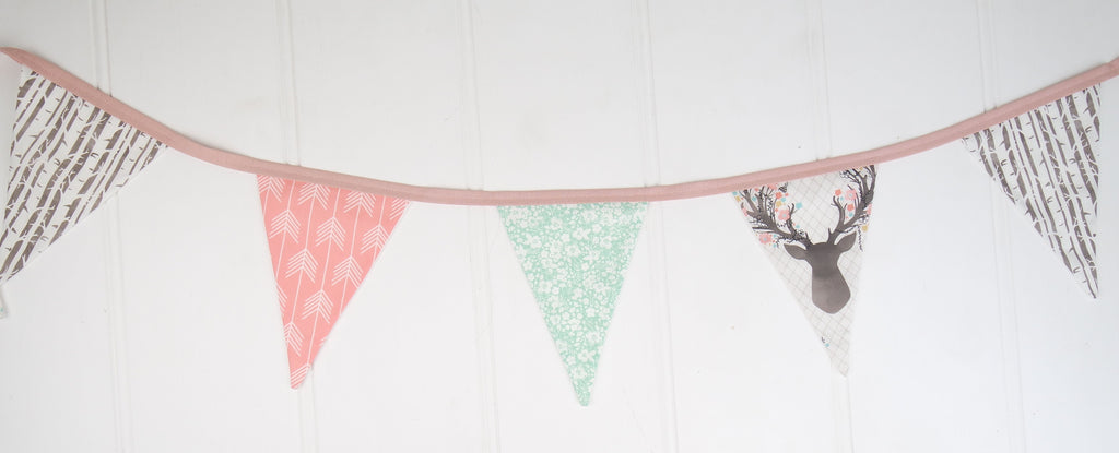 Pink & Mint Deer Bunting Flags